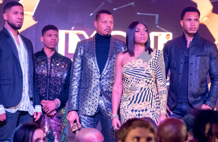 Jussie Smollett, left, Bryshere Y. Gray, Terrence Howard, Taraji P. Henson and Trai Byers in EMPIRE.