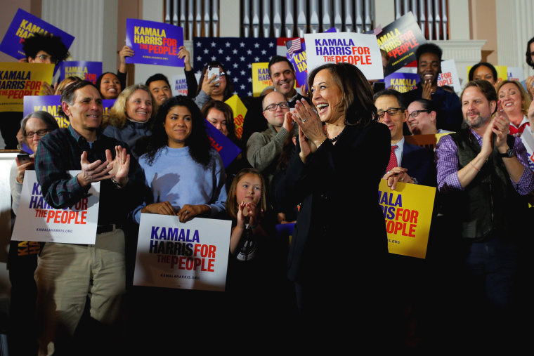Image: Sen. Kamala Harris, D-Calif., takes the stage during a campaign event in Portsmouth, New Hampshire, on Feb. 18, 2019.