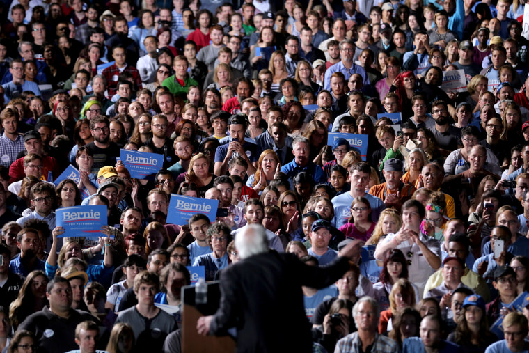 Image: People gather to listen to Sen. Bernie Sanders, I-VT, during a campaign rally in Manassas, Virginia, on Sept. 14, 2015.