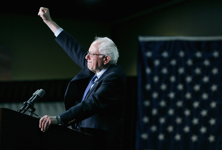 Image: Sen. Bernie Sanders, I-VT, speaks to the crowd during a campagin rally in Phoenix on March 15, 2016.