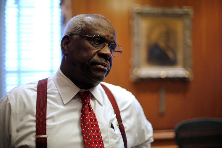 Image: U.S. Supreme Court Justice Thomas is seen in his chambers at the U.S. Supreme Court building in Washington