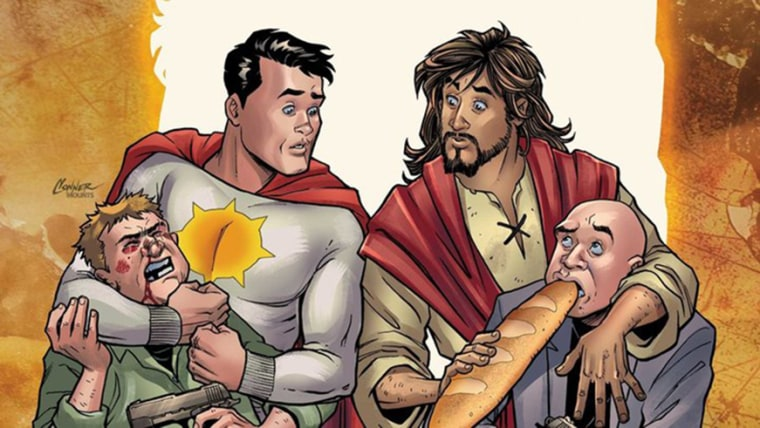 """Image: Sun-Man and Jesus Christ in DC Comics' \""""Second Coming.\"""""""