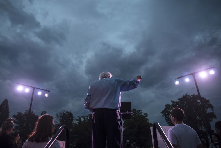 Image: Sen. Bernie Sanders, I-VT, speaks during a rally on Capitol Hill on Oct. 4, 2018.