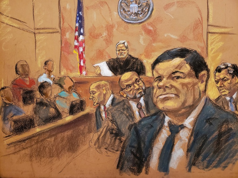 "Image: The accused Mexican drug lord Joaquin ""El Chapo"" Guzman in Brooklyn federal court in New York"