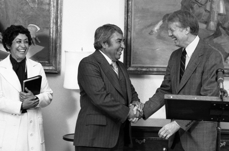 Image: President Jimmy Carter shakes hands with Dr. Armando Rodriguez at the White House on Nov. 30, 1978.