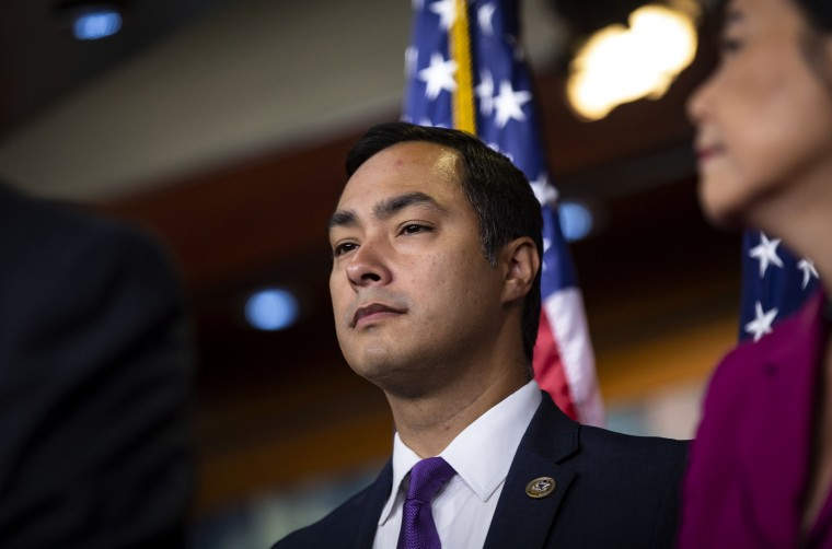 Image: Rep. Joaquin Castro, D-Texas, listens at a news conference on Capitol Hill on July 25, 2018.