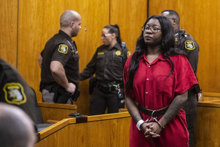 Image: Kemia Hassel appears in court in St. Joseph, Michigan, on Feb. 20, 2019. Hassel, along with a co-defendant Jeremy Cuellar, were charged in the 2018 murder of U.S. Army Sgt. Tyrone Hassel III.