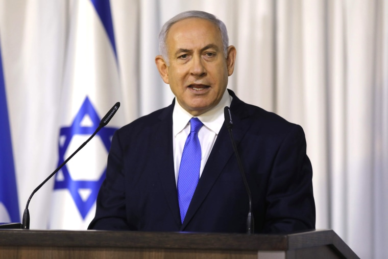 Image: Israeli Prime Minister Benjamin Netanyahu delivers a statement after a meeting of the Likud party in the Israeli town of Ramat Gan, east of the coastal city of Tel Aviv