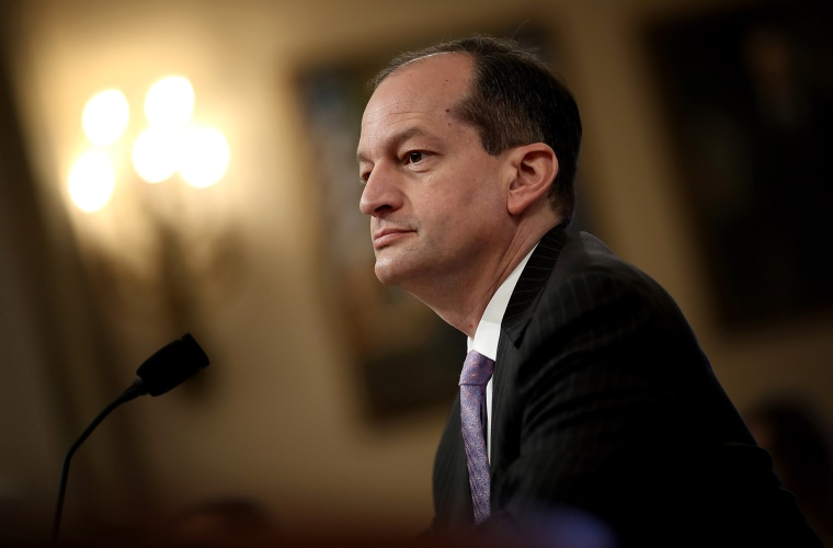 Image: Labor Secretary Alex Acosta testifies before the House Ways and Means Committee in Washington on April 17, 2018.