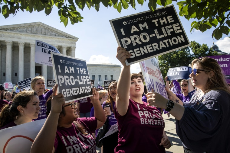Image: Pro-life advocates demonstrate in front of the Supreme Court on June 25, 2018.