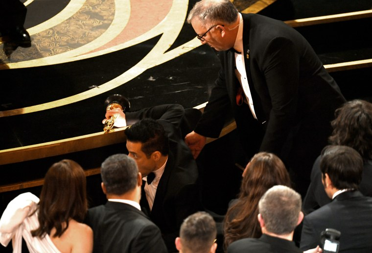 Rami Malek slipped after Oscars win