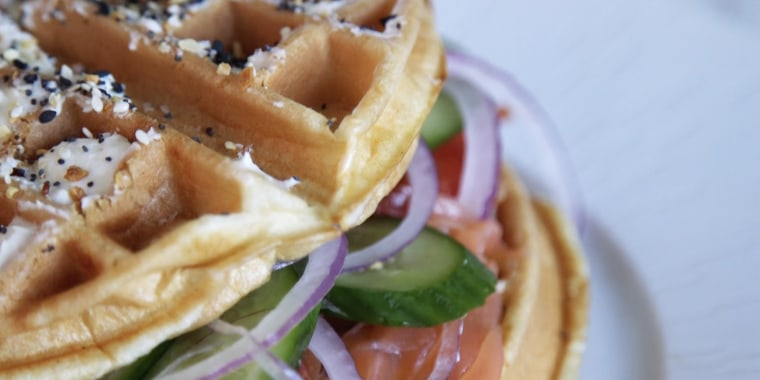 """Tanya Zuckerbrot's """"Everything But the Bagel"""" Waffle"""