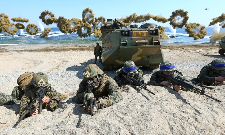 U.S. Marines and South Korean Marines take positions during a joint amphibious exercise, part of Key Resolve and Foal Eagle exercises, in South Korea in 2016.