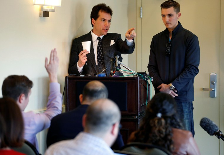 Attorney and Republican operative Jack Burkman and internet activist Jacob Wohl speak during a news conference on their allegations against Special Counsel Robert Mueller in Arlington, Virginia