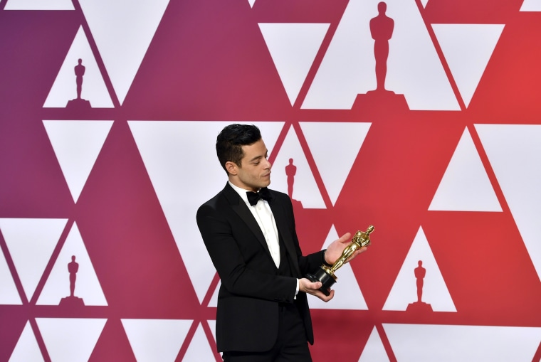 """Image: Rami Malek, winner of the Academy Award for Best Actor in \""""Bohemian Rhapsody\"""" at the Oscars on Feb. 24, 2019."""