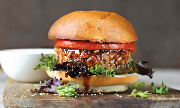 "Image: Teriyaki patties from ""The Vegan 8"" by Brandi Doming."