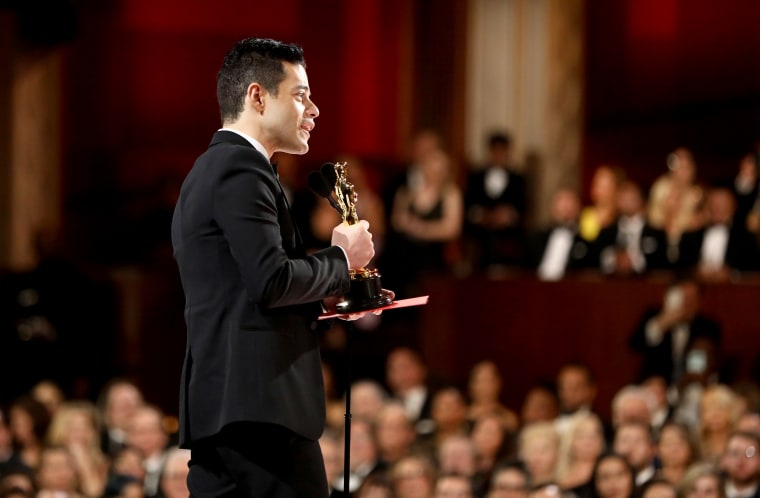 Image: Rami Malek accepts the Academy Award for Best Actor at the Oscars on Feb. 24, 2019.