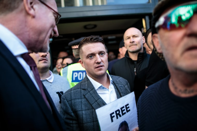 Image: Far-right activist Tommy Robinson outside of the Old Bailey in London on Sept. 27, 2018.