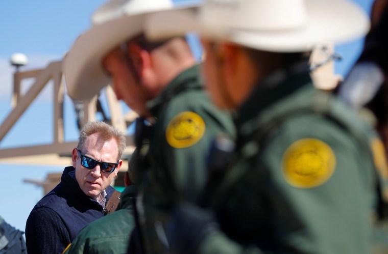 Image: Acting Secretary of Defense Patrick Shanahan meets with Border Patrol agents during a tour of the U.S.-Mexico border at Santa Teresa Station in New Mexico on Feb. 23, 2019.