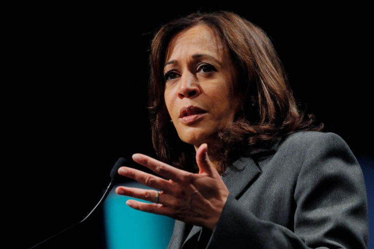 Image: Democratic 2020 U.S. presidential candidate Harris speaks at Politics and Eggs in Manchester
