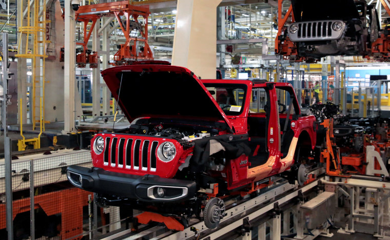 Jeep Wranglers move on the assembly line at the Chrysler Jeep plant in Toledo, Ohio