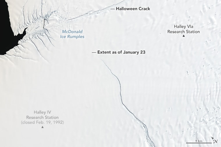 Previously stable for about 35 years, a crack in Antarctica's Brunt Ice Shelf recently started accelerating northward as fast as 4 kilometers per year.