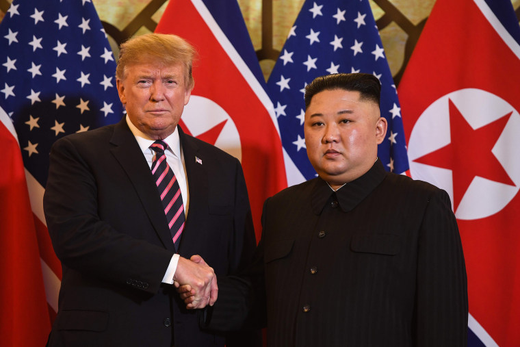 Image: President Donald Trump shakes hands with North Korea's leader Kim Jong Un before a meeting at the Sofitel Legend Metropole hotel in Hanoi
