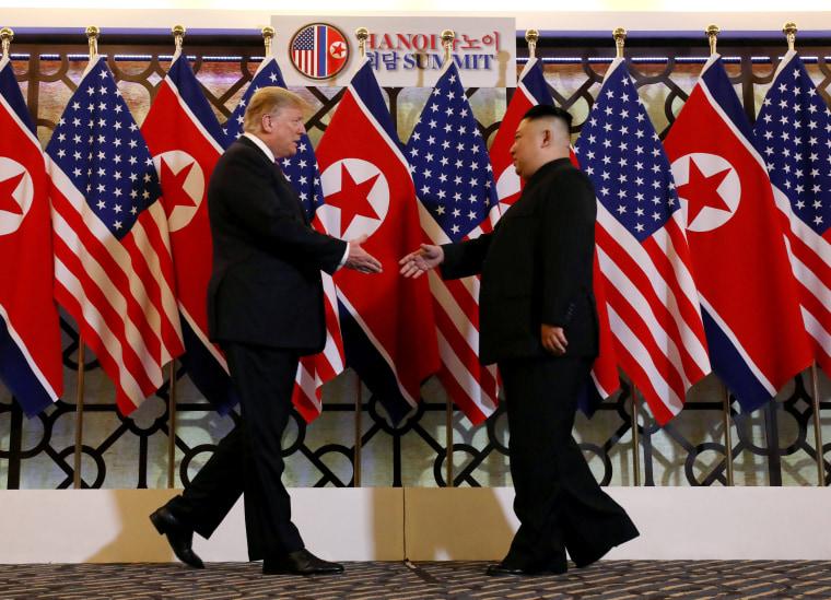Image: U.S. President Donald Trump meets with North Korean leader Kim Jong Un in Hanoi