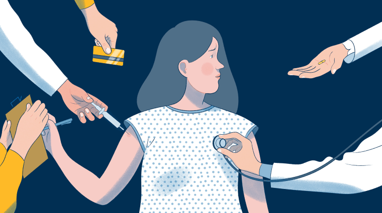 Illustration of woman considering egg freezing.