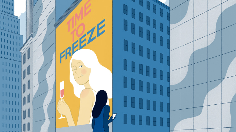 Illustration of woman in front of a sign advertising egg freezing.