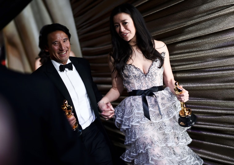 """Best Documentary winners for """"Free Solo"""" Elizabeth Chai Vasarhelyi and Jimmy Chin"""