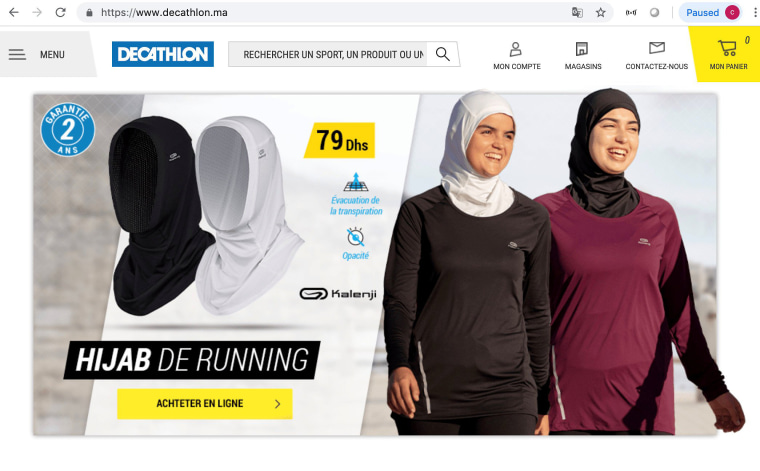 Image: A screenshot shows hijabs for women joggers on sale on the Moroccan website of French sporting goods chain Decathlon