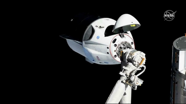 Image: The SpaceX Crew Dragon arrived at the International Space Station on March 3, 2019.