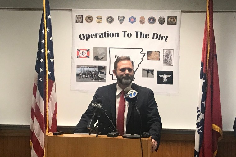 Image: Cody Hiland, the United States attorney for the Eastern District of Arkansas, announced charges against dozens of people accused of belonging to a white supremacist drug gang.