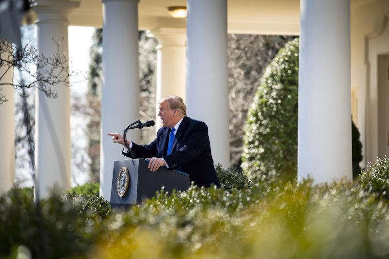 Image: President Donald Trump formally declares a national emergency to fund his border wall, at the White House in Washington.