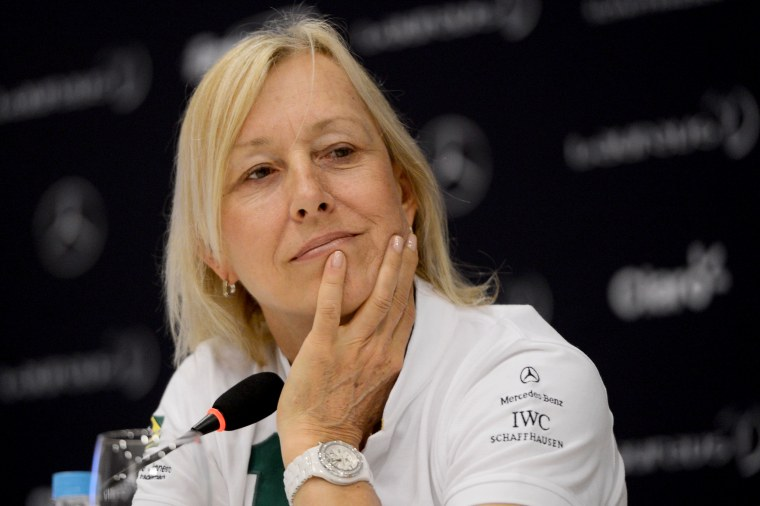 Image: Martina Navratilova attends a press conference in Rio de Janeiro on March 11, 2013.