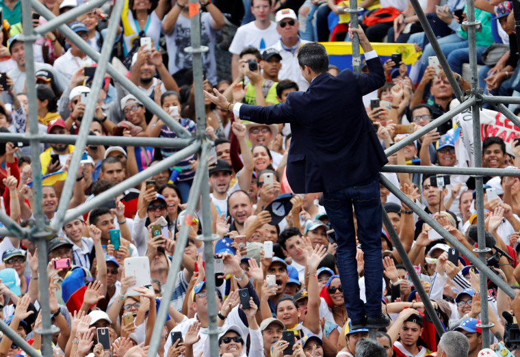Image: Venezuelan opposition leader Juan Guaido greets supports at a rally against President Nicolas Maduro in Caracas on March 4, 2019.