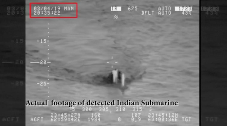 Image: A submarine, that Pakistan Navy claims to be a detected Indian submarine, is seen near Pakistani waters in the Arabian Sea