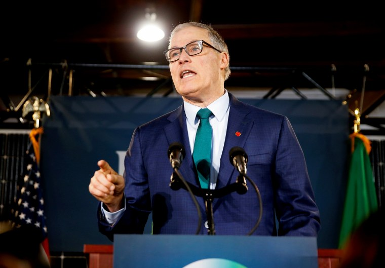 Image: Governor Jay Inlsee speaks at a news conference on his decision to run for president in Seattle on March 1, 2019.