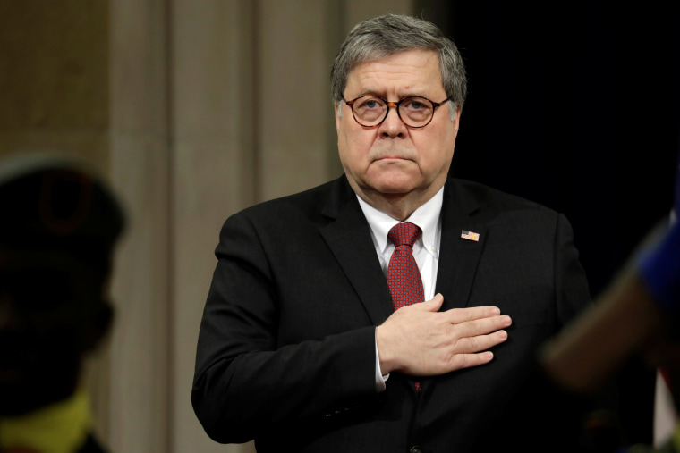 Image: Attorney General William Barr at an event at the Justice Department in Washington on Feb. 26, 2019.