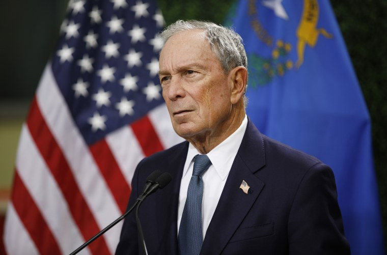 Image: Michael Bloomberg speaks at a news conference at a gun control advocacy event in Las Vegas