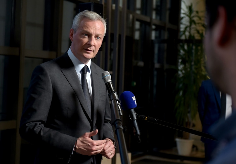 Image: French Finance and Economy Minister Bruno Le Maire speaks in Paris on Feb. 25, 2019.