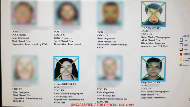 A sample of names and photos from the list. KNSD blurred the names and photos of individuals who haven't given permission to publish their information.