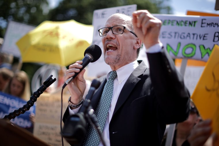 Image: Democratic National Party Chairman Tom Perez speaks at a rally in Washington on May 10, 2017.