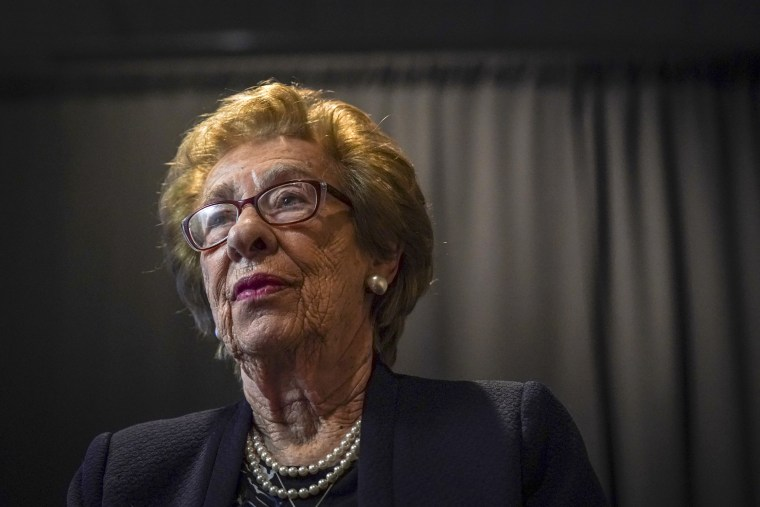 Image: Eva Schloss, Holocaust survivor and stepsister of Anne Frank, sits for an interview in Fairfax, Virginia, on Feb. 7, 2018.