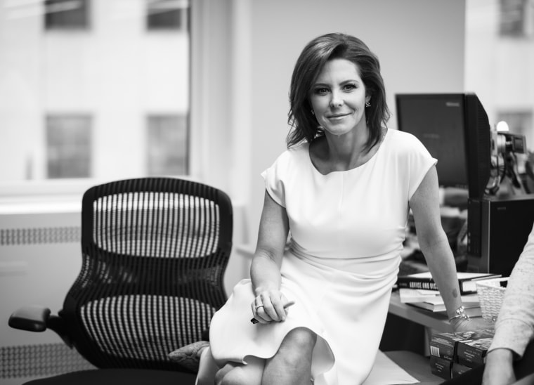 MSNBC anchor Stephanie Ruhle holds a staff meeting at 30 Rockefeller Center in New York on March 13, 2018.