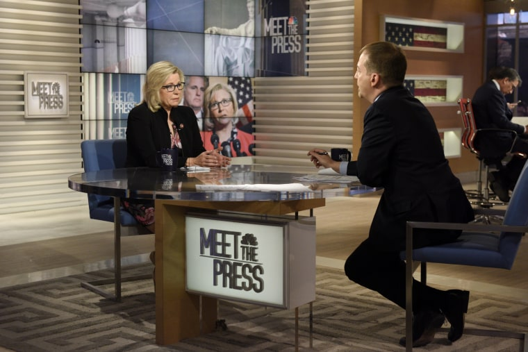 "Image: Rep. Liz Cheney speaks to Chuck Todd on ""Meet The Press"" on March 10, 2019."
