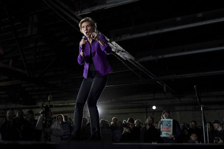 Image: Sen. Elizabeth Warren, D-Mass., speaks during a campaign event in Queens, New York, on March 8, 2019.