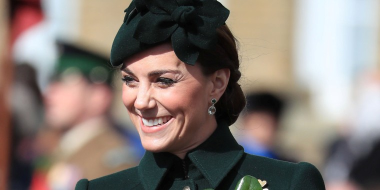 Catherine, Duchess of Cambridge attends the St Patrick's Day Parade in Cavalry Barracks in Hounslow