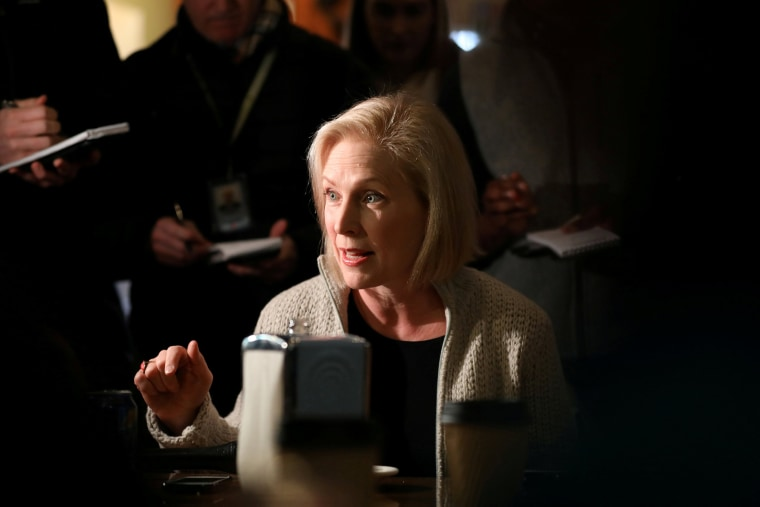 Image: FILE PHOTO: U.S. Senator Kirsten Gillibrand (D-NY) talks to customers at the Pierce Street Coffee Works while on a walking tour after announcing that she is forming an exploratory committee to enter the 2020 presidential race, in Sioux City, Iowa